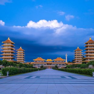 View of the Front Hall and eight pagodas at the Fo Guang Shan Buddha temple. Beautiful and peaceful scenario.